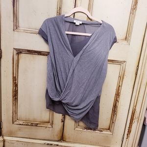 Helmut Lang Gray silk wrap drapey top L